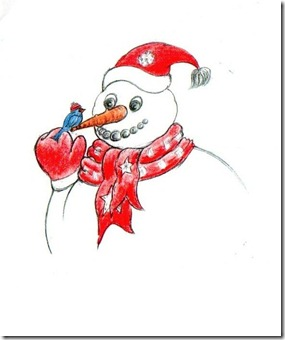 snowman w red hat and bird