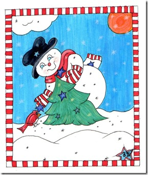 snowman with checked border