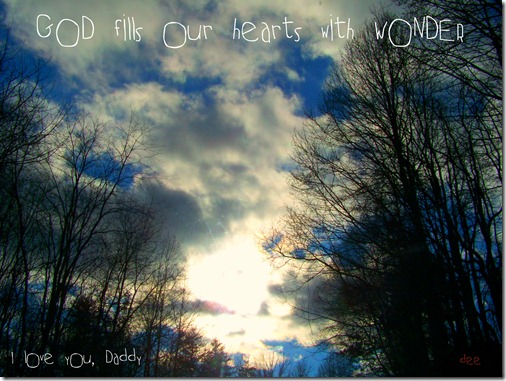 God fills our hearts with wonder